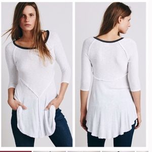 Free People Weekend Layering Top in Snow Combo NWT